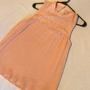 LC Lauren Conrad Pink Lace Pleated Top